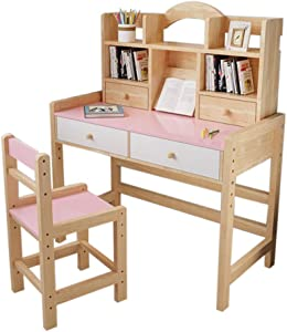 Kids Desk and Chair Set, Adjustable Height Kids Wooden Study Desk with Drawers and Bookshelves, Lovely Furniture for Reading, Writing &Drawing,Study Table for Girls Boys (Pink)