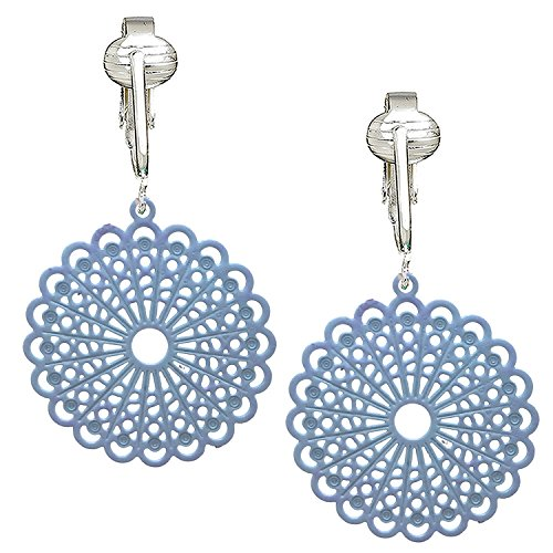 (Darling Victorian Filigree Clip On Earrings for Women & Girls Clip-ons, Lacy Rounds, Flowers & Dragonfly (Light Blue))