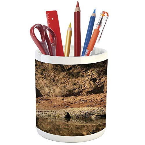 Crocodile Pencil Cup - Pencil Pen Holder,Wildlife Decor,Printed Ceramic Pencil Pen Holder for Desk Office Accessory,Nile Crocodile Swimming in The River Rock Cliffs Tanzania Hunter Geography