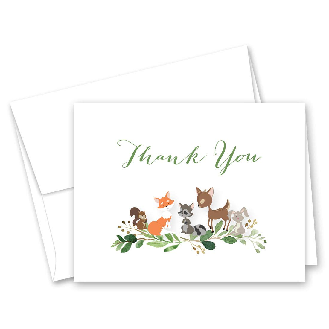 Forest Woodland Animals Baby Shower Thank You Cards - Set of 50 (Greenery)