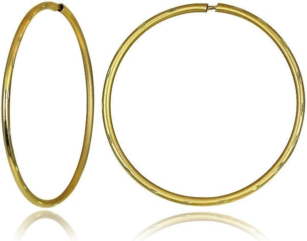 Hoops & Loops 14K Gold 0.8mm Thick Diamond Cut Round Endless Hoop Earrings