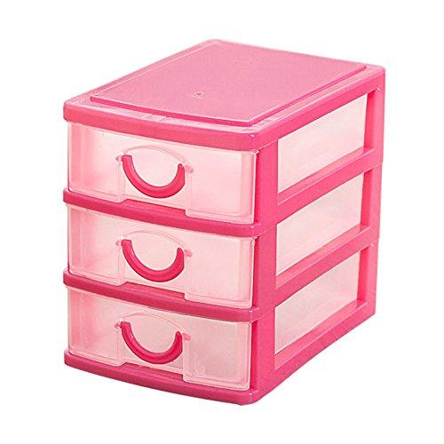 TOOGOO(R)Mini translucent Drawer type plastic Storage Box£¨rose red 3 Layers£ - Mini Drawers Storage