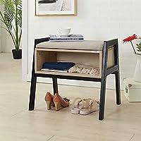 SHUHOME Shoe Bench Boot Organizing Upholstered Shoe Rack Entryway Storage(White Maple)