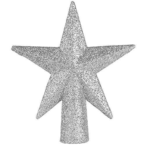 Ornativity Glitter Star Tree Topper - Christmas Mini Silver Decorative Holiday Bethlehem Star Ornament