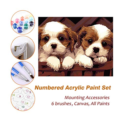 Paint By Numbers Kits For Kids Adults Beginner Teens Pine Framed DIY Oil Acrylic Painting Paint Art Brush Sets, Puppy Of Cavalier King Charles 530 ( Color : Without Frame , Size : 400mm x 500mm )