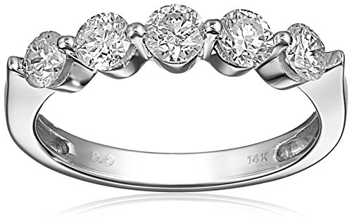 14k White Gold Five-Stone Diamond Ring (1 cttw, H-I Color, I1-I2 Clarity), Size 5 by Amazon Collection