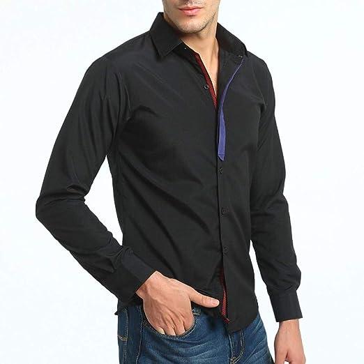 Qiusa Camisa para Hombre Camisa de Manga Larga Slim Fit Top ...