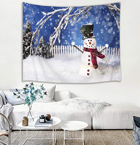 HVEST Christmas Tapestry Wall Hanging Snow Tapestry Snowman and Trees in Garden with Fantasy Dots Wall Blankets for Bedroom Living Room Dorm Decor,60Wx40H inches
