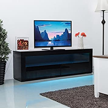 Costway 120/157/200CM TV Unit Cabinet W/Drawer U0026 LED Lighting Modern