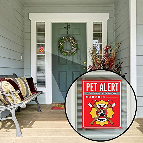 Stupendous Pet Alert Fire Rescue Sticker 4 5 X 4 Window Door Decal 2 Animal Care Wallet Cards 1 Pet Home Alone Key Tag In Case Of Emergency Sign Beutiful Home Inspiration Aditmahrainfo