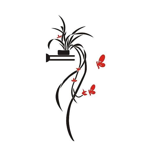 Ruiting Pegatinas de Pared Mariposa Orquídea 3D,Tatuajes de Pared ...
