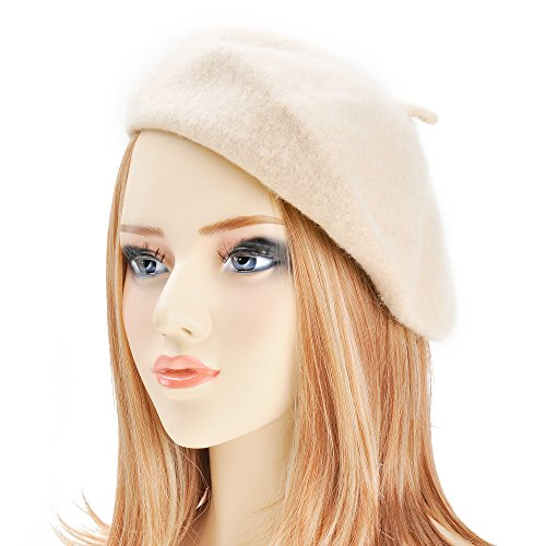 Wool Beret Hat Classic Solid Color French Beret for Women (Beige)