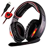 GW Sades Newly SA902 7.1 Channel Virtual USB Surround Stereo Wired Over Ear PC Gaming Headset Headphones with Mic Revolution Volume Control Noise Canceling LED Light (Black/Red)