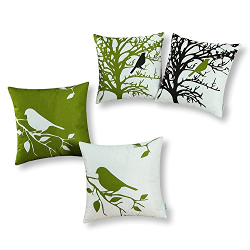 CaliTime Set of 4 Soft Canvas Throw Pillow Covers Cases Couch Sofa Home Decoration Shadow Bird Tree Branches Silhouette 20 X 20 inches Olive Green