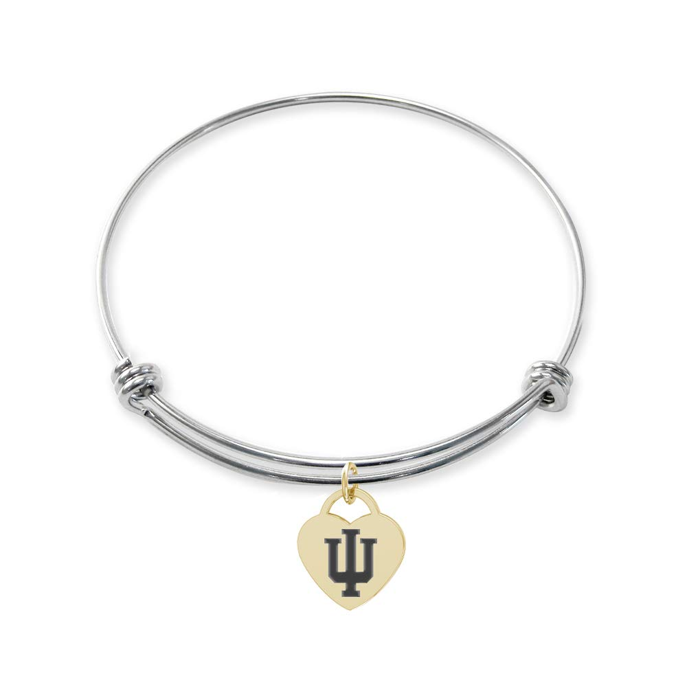 College Jewelry Indiana Hoosiers Stainless Steel Adjustable Bangle Bracelet with Yellow Gold Plated Heart Charm