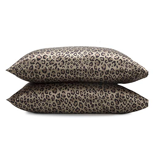 Seduction Satin Solid Pillowcase Pair, King, Leopard