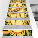 Stair Stickers Wall Stickers,6 PCS Self-Adhesive,Mexican Decorations,Ethnic Hat and Maracas in The Centre of Sun Figure Hippie Style Boho Home,Multi,Stair Riser Decal for Living Room, Hall, Kids Room