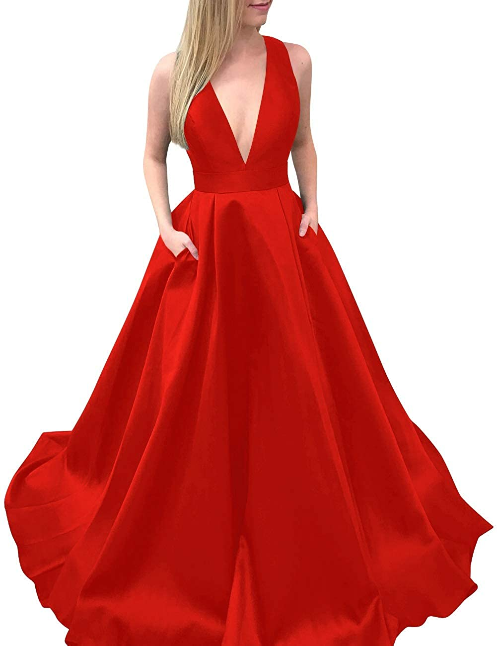 Red MorySong Women's Deep VNeck Bowknot Back Satin Prom Evening Dress with Pockets