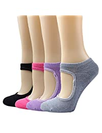 Women Yoga Socks Non Slip Anti-Skid Pilate Grip Socks for Yoga, Pilates, Barre, Studio, Bikram, Ballet, Dance (4 Pairs)
