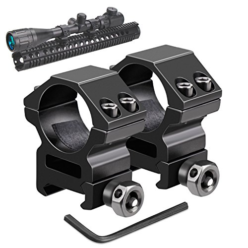 odkin Medium Profile Scope Mounts for Picatinny/Weaver Rail (1 inch, Set of 2) (Double Picatinny Rails)