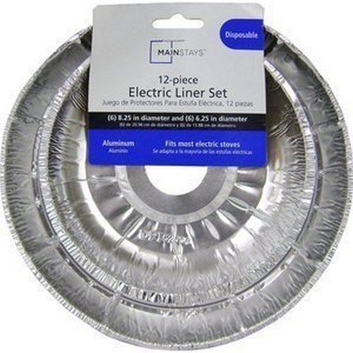Mainstays D62120 Electric Stove Disposable Drip Pan Liner Set, 12 Piece