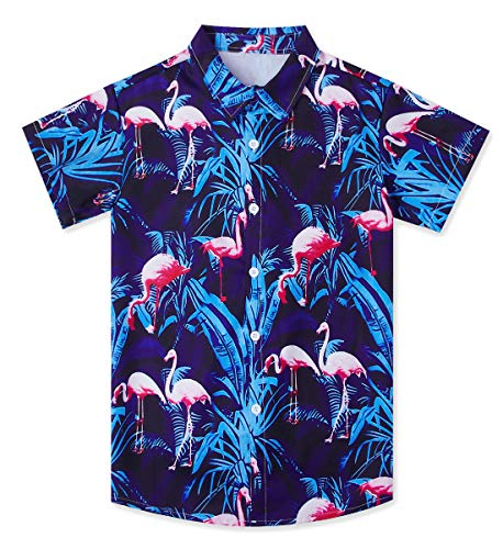 Boy's Classic Hawaiian Themed Shirts 9-10 Years 3D Printed Red Pink Flamingo Short Sleeve Blue Leaves Tees Hibiscus Summer Tropical Luau Island Dress for Beach Wear]()