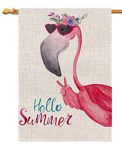 - Hello Summer Flamingo Large House Flag Vertical Double Sided 28 x 40 Inch Floral Burlap Yard Outdoor Decor