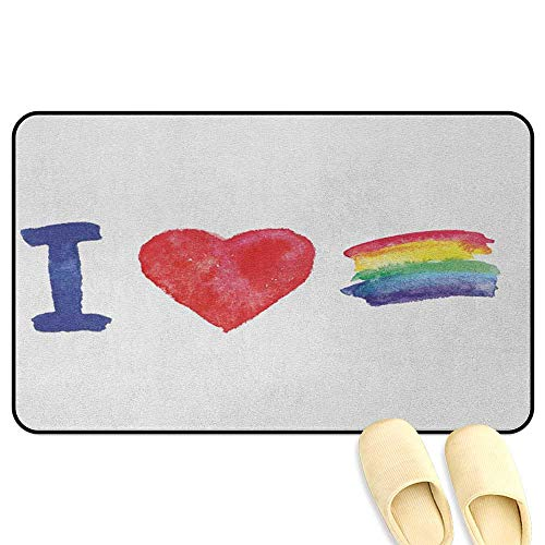 Pride Floor Mat Rug Indoor Artistic I Love Pride Theme with Watercolor Heart Rainbow Flag Grunge Valentines Multicolor Kitchen Decor mats W24 x L35 INCH