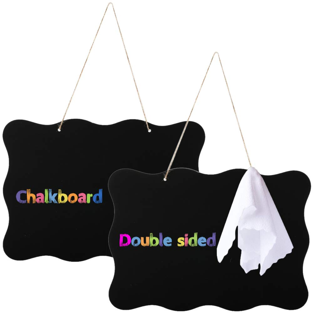 Hanging Chalkboard Signs MHMJON 10x14in Double Sided Blackboard Rectangle Erasable Message Board with Jute Hanging String and Cleaning Cloth for Wedding Photo Shoot School Sign 2 Pack