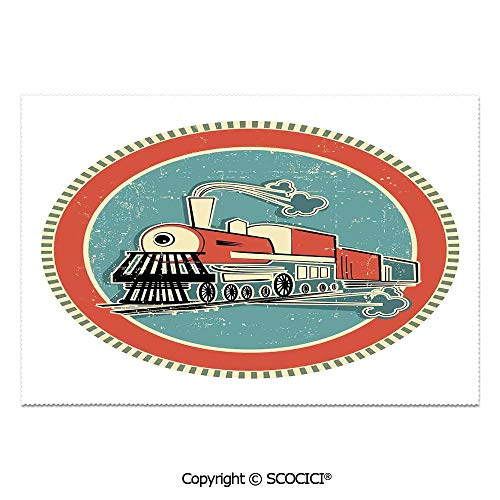 SCOCICI Place Mats Set of 6 Personalized Printed Non-Slip Table Mats Vintage Style Orange and Blue Banner Train Transportation Retro Old Print for Dining Room Kitchen Table Decor]()