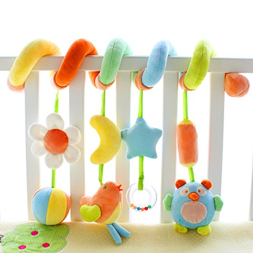 SHILOH Kid Activity Spiral Wrap Around Crib Bed Bassinet Stroller Rail Toy Developmental Plush Soft Toys, Garden