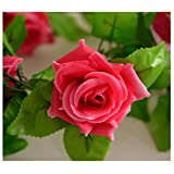 2Pcs Fake Silk Roses Ivy Vine Artificial Flowers with Green Leaves For Home Wedding Decoration Hanging Garland Decor (250cm, Rose Red)