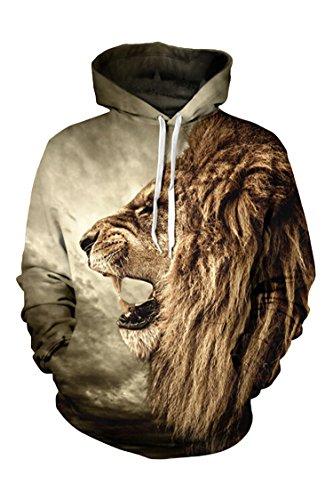 Cutiefox Womens Digital 3D Roar Lion Print Pullover Hoodie Sweatshirt Brown M ()
