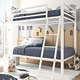"""Amolife Bunk Bed Twin Over Twin Size with Metal Frame and Ladder, Heavy Duty Bed Frame with Fullength Guardrail, Space-Saving Design, 12"""" Under Bed Storage, No Box Spring Needed, Pure White"""
