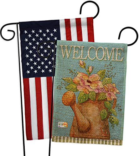 (Breeze Decor GP100051-DBAB Welcome Watering Can Burlap Inspirational Sweet Home Impressions Decorative Vertical 13