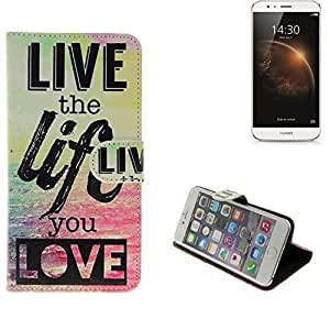 360° Funda Smartphone para Huawei G8, 'live the life you love'   Wallet case flip cover caja bolsa Caso Monedero BookStyle - K-S-Trade