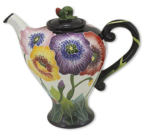 Blue Sky Ceramic Poppy Teapot, 9 x 5.5 x 8
