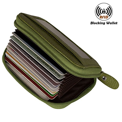 Noedy RFID Blocking Credit Card Holder Compact Wallet Genuine Leather Accordion Purse For Women & Men Green