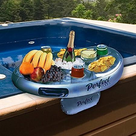Bandeja Oficiales Piscinas Perfect SPA Bar Inflable Bañera de hidromasaje Lateral de Bebidas y Aperitivos - Perfecto para Fiestas en la Piscina!: