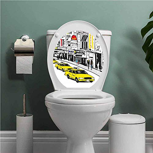 SCOCICI1588 Modern Vinyl Carving Decal Sticker Times Square New York with People in Street Taxi Cabs Traffic Fashion Illustration Toilet Seat Sticker Bathroom Decor Multicolor W14XL14 INCH