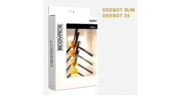 Original Ecovacs Juego de cepillos laterales para los modelos Robot aspirador Deebot D35, Deebot Slim & Marvel Fácil – Cambiar sin herramientas – Cada uno 2 cepillos Sets incluido: Amazon.es: Hogar