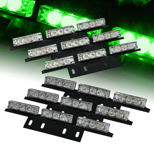Green Strobe (54 Bright Green LED Emergency Flash Strobe Lights Bar for Windshield / Dash / Deck / Grille)