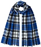 Johnstons of Elgin Unisex Strathclyde Extra Fine Tartan Scarf - Blue/White/Grey