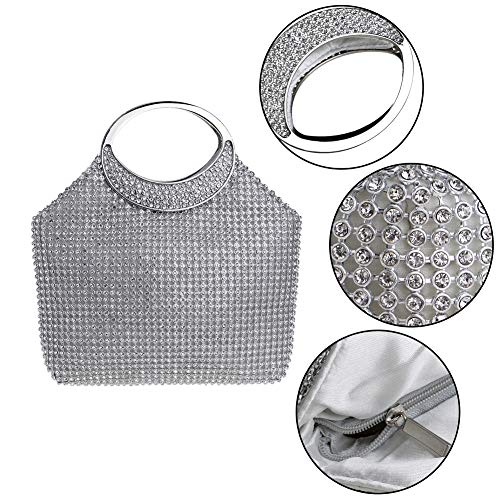 Womens Bag Bags Wallet Silver Ladies Shoulder Dress Wedding Chain Clutch Evening Elegant Purses gURwqdE