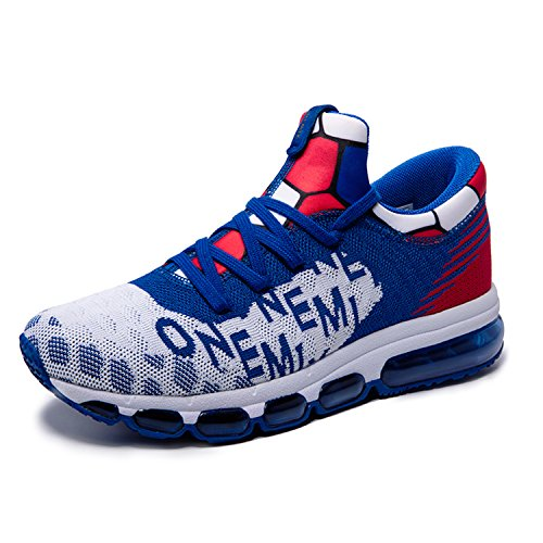 Onemix Men's Mid-Top Air Cushion Knit Walking Trainers Fitness Sports Running Shoes White / Blue