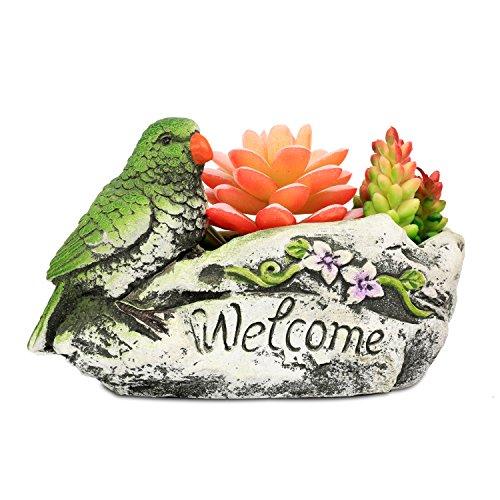 ROSE CREATE 7.0 Inches Bird Planter, SucculentsCactus Combination Pot Plants Box, Mini Ornaments Container, Decor for Garden / Indoor / Desktop Succulents (Green Bird)