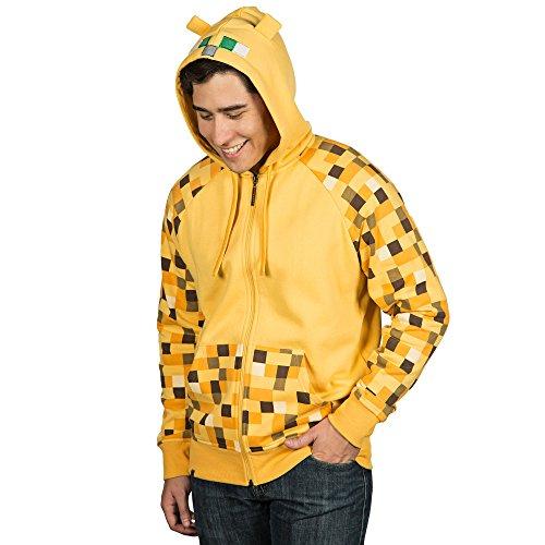 JINX Minecraft Men's Ocelot Premium Zip-Up Hoodie (Yellow, (Creeper Hoodie Minecraft)