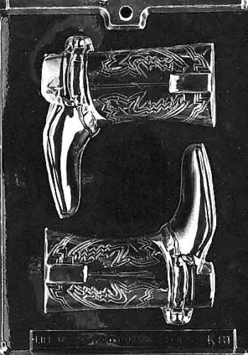 Cybrtrayd Life of the Party K081 Cowboy Boots Hand Tooled Leather Western Chocolate Candy Mold in Sealed Protective Poly Bag Imprinted with Copyrighted Cybrtrayd Molding Instructions