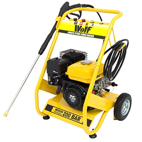 Wolf Petrol Pressure Washer 3000psi 200bar 6.5HP 4-Stroke Petrol Driven Jet Power Washer With 4...