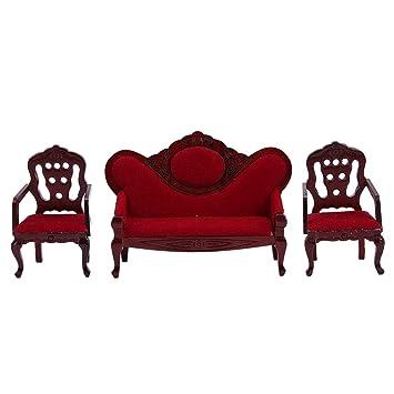Amazon.com: Juego de sofá para sala de estar en miniatura 1 ...
